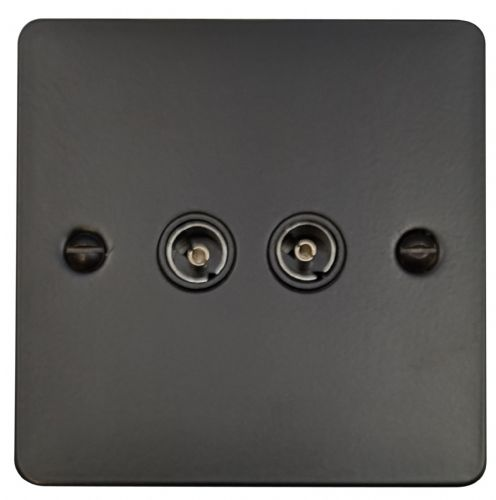 G&H FFB36B Flat Plate Matt Black 2 Gang TV Coax Socket Point
